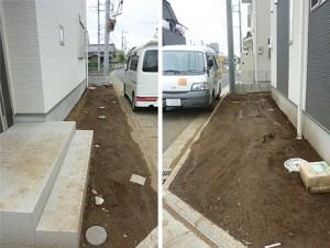 施工前・土がむき出しになっています